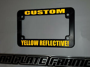 Yellow Reflective Motorcycle Custom Text Personalized License Plate Frame