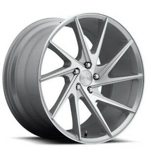 4ea 20 Staggered Niche Wheels M162 Invert Silver Machined Rims s44