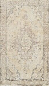 Muted Semi Antique Traditional Distressed Area Rug Handmade Oriental Carpet 3x5