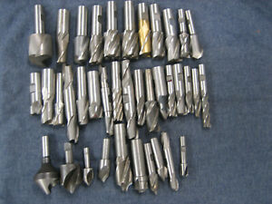 Lot Of 35 Used Undersize Hss End Mills Countersinks And Radius Cutters