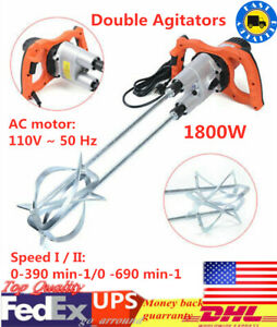 1800w Electric Concrete Cement Mixer Grout Mud Mixing Mortar Stirrer 110v Usa