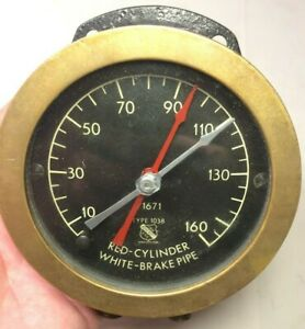 Vintage Ashcroft Locomotive Red Cylinder Black Brake Pipe Brass Test Gauge euc