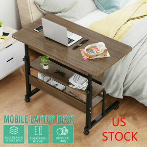 Laptop Desk Adjustable Height Mobile Oak Wooden Stand Computer Bedside Table