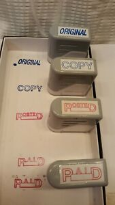 Office Depot Rubber 4 Stamp Set Paid Copy Original Posted