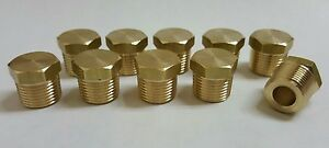10 Pcs 3 8 Mip male Npt Brass Hex Plug Fitting Made In Usa