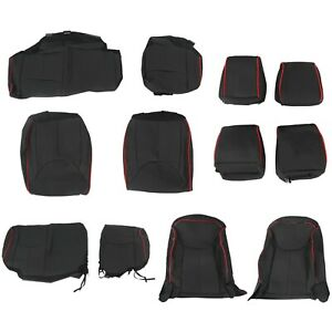 Leather Seat Covers For 2013 2018 Jeep Wrangler Jk 4 Door Black Red Stitch