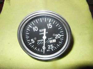 Ac Tachometer Hour Meter 0 2500 Rpm New Old Stock