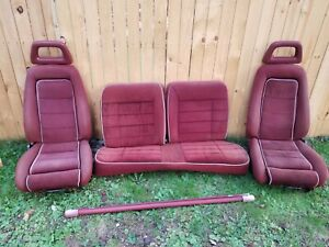 79 86 Ford Mustang Halo Front Seats Red Gt 5 0 Cobra Foxbody 87 93 Oem Complete