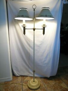 Vintage Double Tole Floor Lamp Matching Base And Shades Works