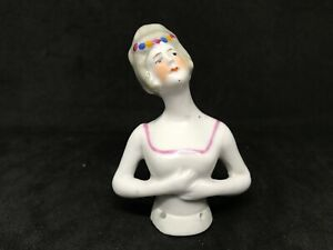 German Porcelain Pin Cushion Half Lady Victorian Lady With A White Slip