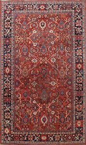 Antique Vegetable Dye Geometric Sultanabad Area Rug Hand Knotted Oriental 9x12