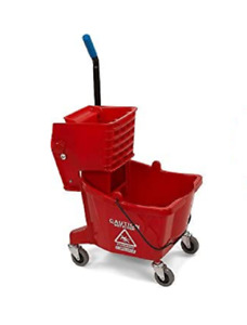 Carlisle Commercial 26qt Mop Bucket With Wringer Red distressed Box