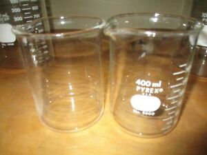 Vintage Pyrex 400 Ml Beakers Set Of 2 Laboratory Chemistry Glassware No 1000