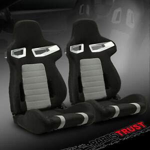 Universal Jdm Black Pvc Main punching Leather Left right Racing Seats Slider
