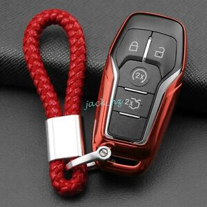 Car Key Fob Cover Chain Ring Case For Lincoln Mkz Mkc Mkx Ford Mondeo Fusion Red