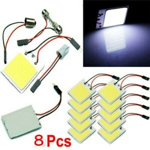 8x 48smd Cob White Panel Led T10 Car Interior Panel Light 12v Dome Lamp Bulb Kit
