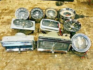 Lot Of 10 Dash Clocks 1954 1955 1956 1957 1958 Chevy Buick Olds Pontiac Cadillac