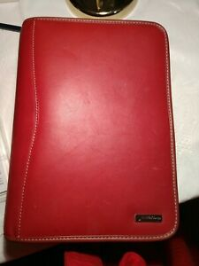 Franklin Covey 7 Ring Red Leather Binder Planner Organizer 8 5x11
