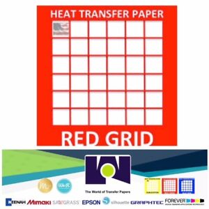 Red Grid Ink Jet Iron On Heat Transfer Paper Light Colors 10 Sheets Pk 8 5 x11
