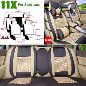Us 5 Seats Car Seat Covers Pu Leather comfort Mesh Front rear Cushion Universal