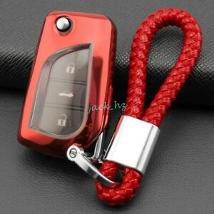 Flip Car Key Fob Cover Chain Ring For Toyota Chr Rav4 Corolla Accessories Red