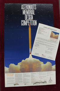 Neil Armstrong Signed Poster Astronauts Memorial Design Competition Auto JSA Coa $2800.00
