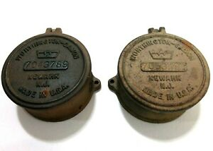 2 Vintage Worthington Gamon Brass Water Meter Cover Newark New Jersey