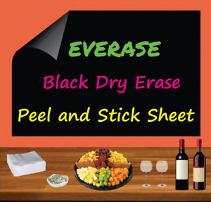 Everase Re stic Black Dry Erase Self adhesive Peel Stick Sheet 12 X 18 In