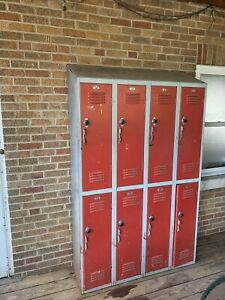 Four Connected Used Vintage Heavy Metal Steel Lockers School Gym Athletic