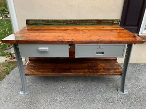 Vintage Industrial Work Bench kitchen Table 60 With Original Lyons Metal Legs