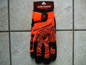 Orange Wells Lamont Grip Genuine Grain Suede Leather Work Gloves Size L New