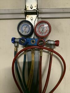 Snap On Pro Set Ac R12 Refrigerant Manifold Gauge Set Mint Condition