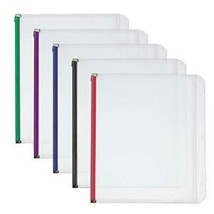 Cardinal Plastic Zippered Binder Pockets 3 hole Punched Fits Full Letter Size