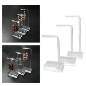 3pcs Acrylic Drop Stud Earring Jewellery Display Stand Rack Necklace Rack