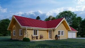 Log Cabin Home Shell Kit Logs 1368 Sq ft 1940 With Garage
