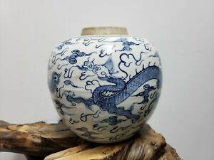 Chinese Old Blue And White Porcelain Ginger Jar Dragon Phoenix