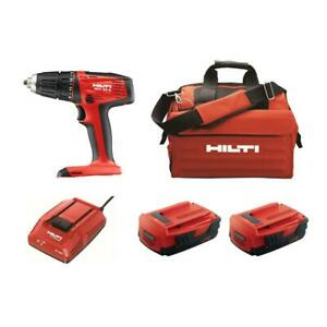 Hilti Cordless Compact Drill Driver 22 volt 2 battery Charger Led Light Keyless