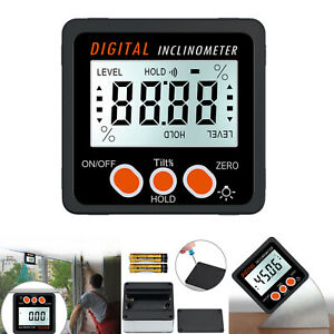 Digital Inclinometer Level Box Protractor Angle Finder Level Gauge Lcd Magnet