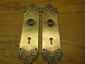 Pair Old Bronze Door Plates Backplates Russell Erwin Co