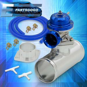 Universal Blue Type Rs Style Turbo Blow Off Valve 2 Bolt W Adapter Pipe Set