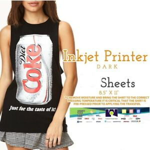 Ink Jet Printable Heat Transfer Paper Dark Fabrics 50 Sheets 8 5 x11