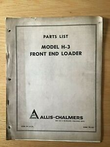 Allis Chalmers Model H 3 Front End Loader Parts List Manual