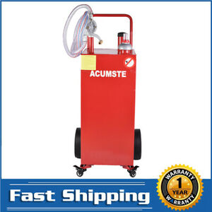 30 Gallon Gas Caddy Tank Fuel Storage Container Pump Transfer Wheels New Red