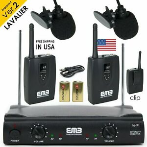 Professional Wireless Microphone System Dual Lavalier 2 x Mic Cordless Receiver $42.99