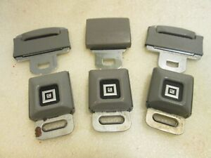 Lot Of 3 Gm Logo Metal Seat Belt Buckle Push Button With Latch Gray