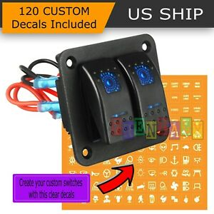 Blue Led 2 Gang On Off Toggle Switch Panel 2 Usb 12v Car Boat Marine Rv Truck
