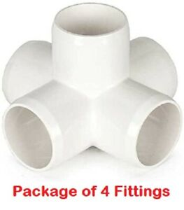 3 4 Furniture Grade 5 way Cross Connector Pvc Fitting 4 Pack