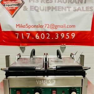 Waring Wfg300 Double Commercial Panini Press W Cast Iron Smooth Plates 240v 1p