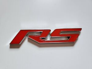 Rs Chevrolet Red Silver Chrome Emblem Logo Badge Metal Decal Sticker Abs