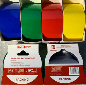 Packing Parcel Tape 48mm X 60m Coloured Set Of 4 Red Yellow Blue Green Tapes